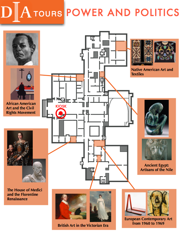 Brochure of the Power and Politics theme in monochromatic orange and portrait showing 6 sample galleries surrounding the three floor levels of the map.