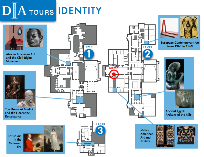 Brochure of the Identity theme in monochromatic blue and landscape showing 6 sample galleries surrounding the three floor levels of the map.