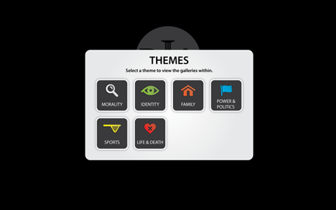 Theme selection window is in the center of the screen with the heading 'Themes' and the sub-text 'Select the themes to view the galleries within' then there is a grid of six different theme buttons.