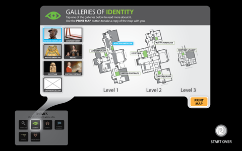 Galleries index screen of the Identity theme with one of the galleries in the grid highlighted in blue and the corresponding blue spot on the map