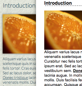 side-by-side comparison of a page with default styles and high-contrast styles